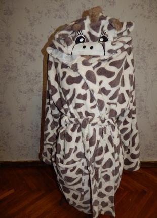 Love to lounge халат плюшевый жираф мягкий тёплый с капюшоном рм 10-121