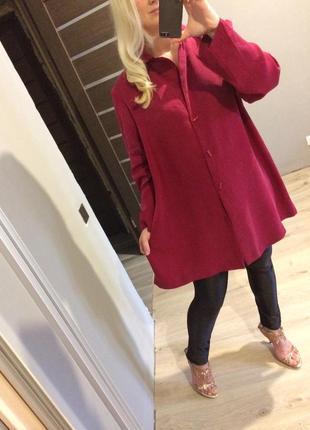 Удлиненное платье пиджак от ann harvey цвет марсала пог 684