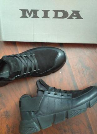 Кожаные кроссовки ботинки mida