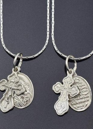 Крестик с ладанкой серебряные казанская 33341