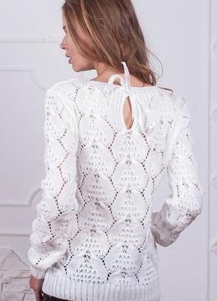 Красивый вязаный свитер ажурной вязкой нарядный свитер размер42-48
