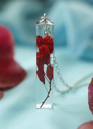 Кулон-кристалл ручной работы \ внутри веточка барбариса1 фото
