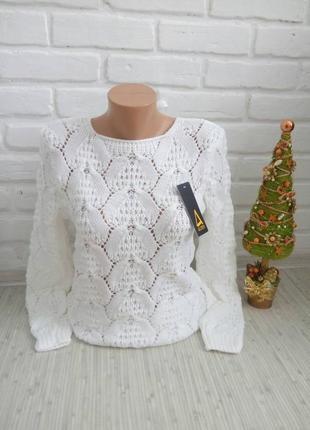 Красивый вязаный свитер ажурной вязкой нарядный свитер размер42-482
