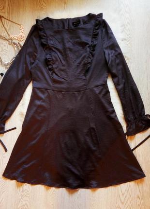 Синее приталенное платье миди с рюшами и воланами батал длинные рукава большой размер5