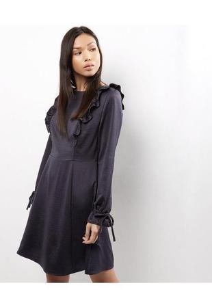 Синее приталенное платье миди с рюшами и воланами батал длинные рукава большой размер1