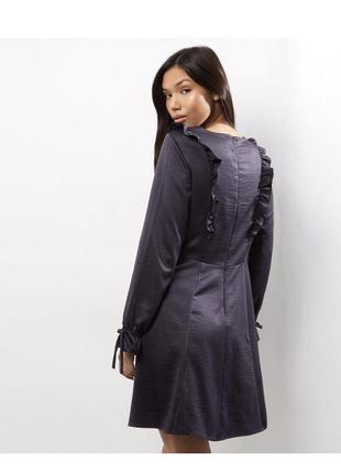 Синее приталенное платье миди с рюшами и воланами батал длинные рукава большой размер2