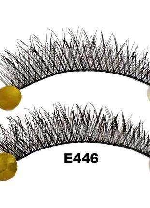 Е446 1 пара накладных ресниц на нитке, удлинение к краю1
