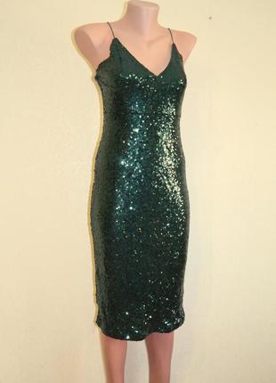 Платье в пайетки миди на бретелях2