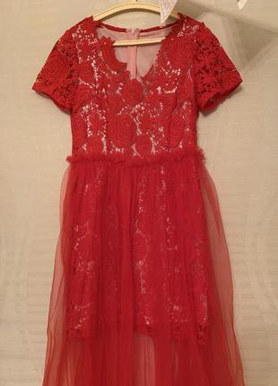 Шикарное ажурное платье с шифоном1