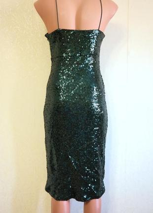 Платье в пайетки миди на бретелях3
