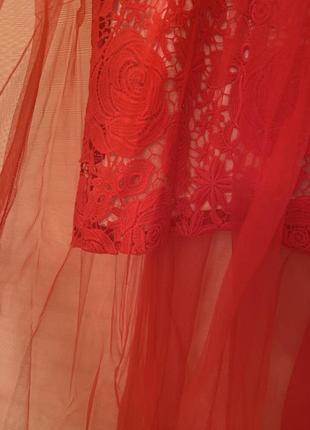 Шикарное ажурное платье с шифоном2
