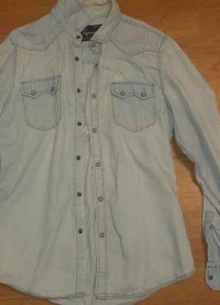 Классная джинсовая рубашка мужск,рр 50