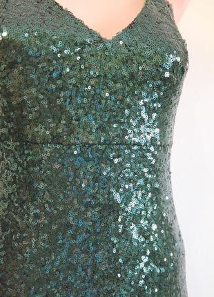 Платье в пайетки миди на бретелях4