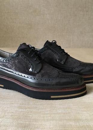 Новые кожаные туфли, броги maypol, 39-40 р.1