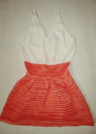 Невесомое лёгкое короткое платье на бретельках