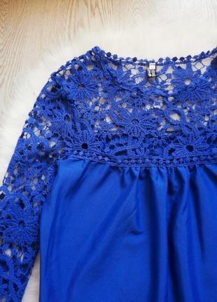 Нарядная синяя блуза с кружевными длинными рукавами и гипюром туика шифон5