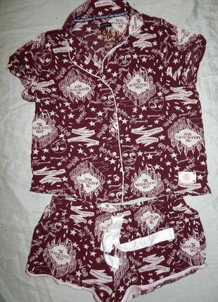 Love to lounge пижама вискозная рубашка с шортиками рм 10-12 harry potter3