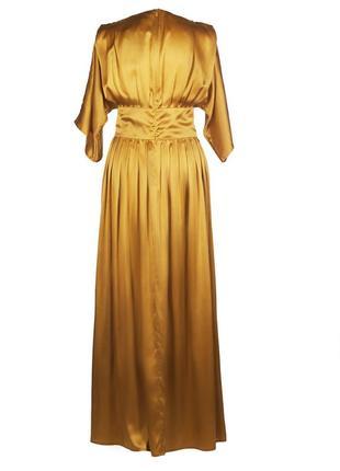 Золотистое платье из натурального шелка3