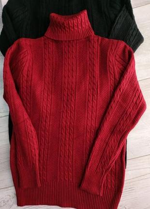 Теплый свитер гольф стойка с вязкой косичка1 фото