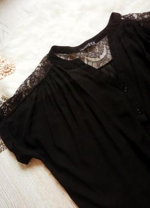 Черная легкая блуза с гипюром на плечах ажурные вставки батал большой размер плюс сайз2