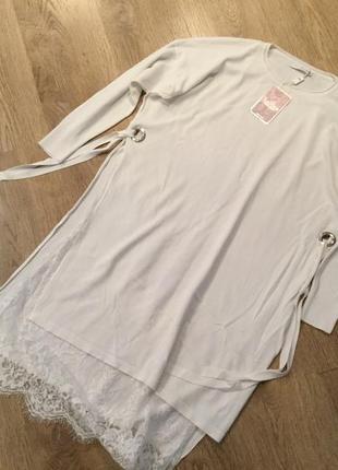 Оригинальная длинная кофта платье туника с кружевом l florencia1