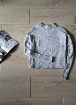 Теплый укороченный свитер кроп топ гольф меланж с добавлением шерсти р. m l1