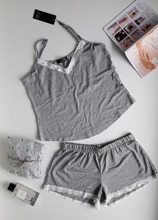 Мягкая пижама серого цвета, вискоза. размер с-м