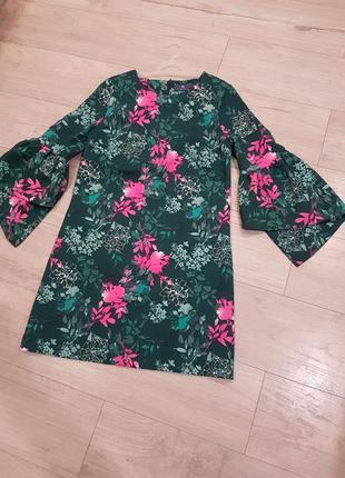 Шикарное платье прямого кроя с обьемным рукавом3