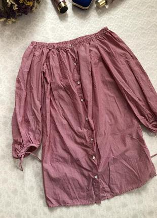 Хлопковая блуза - рубашка на плечи в полоску 14- размер