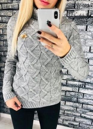 Вязанный шерстяной свитер гольф водолазка с-м-л 42-44-46 цвета в наличии1