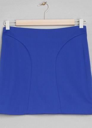 Новая синяя трикотажная эластичная мини короткая  юбка1 фото