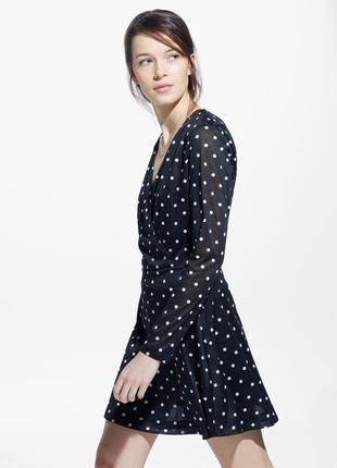 Качественное вечернее черное платье в горошек на запах mango1