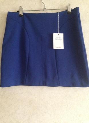 Новая синяя трикотажная эластичная мини короткая  юбка4 фото