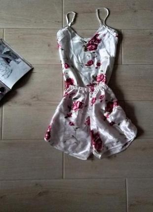Стильная легка пижама шорты майка для сна цветочный принт1 фото