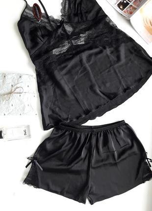 Сексуальная черная пижама, шелк армани. размер м-л2 фото