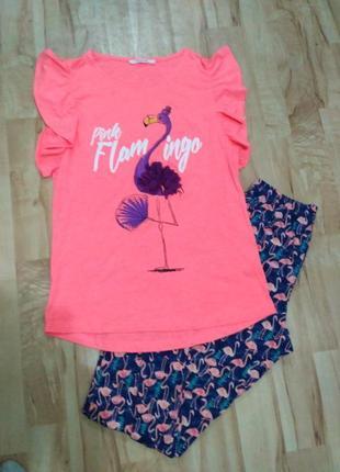 "Яркая пижама ""фламинго"", размер с-м"