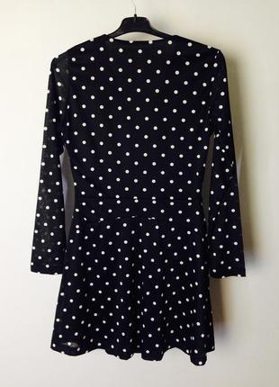 Качественное вечернее черное платье в горошек на запах mango4