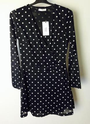 Качественное вечернее черное платье в горошек на запах mango5