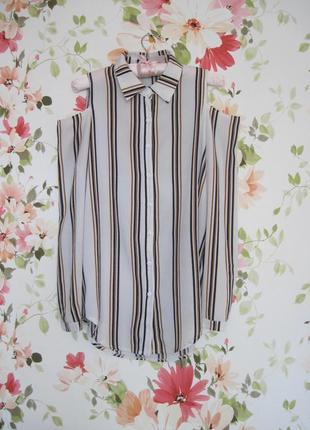 Базовая полосатая блузка с вырезами на плечах new look2
