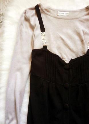 Серая с черным низом кофточка с длинными рукавами и пуговичками джемпер свитер2