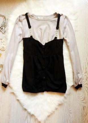 Серая с черным низом кофточка с длинными рукавами и пуговичками джемпер свитер1