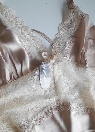 Нежная кремовая пижама с кружевом3