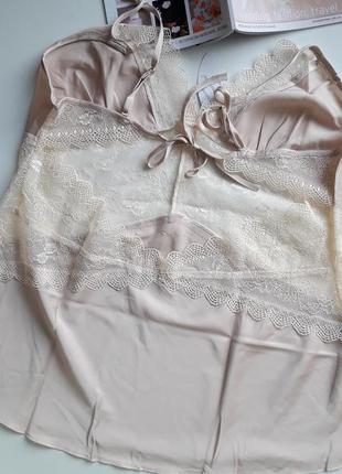 Нежная кремовая пижама с кружевом4 фото