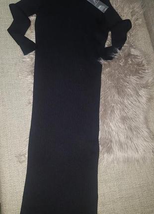 Черное платье рубчик по фигуре р. 12 м- l2