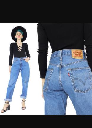 Мом джинсы levi's 501, винтажные плотные джинсы с высокой талией5