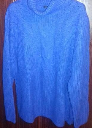 Свитер - теплый и уютный, р.хл, lands'end, tunic sweater, пог 60, хлопок/нейлон/шерсть2