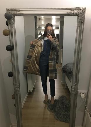 Трендове стильне тепле пальто в клітинку з шерстю в складі tu2