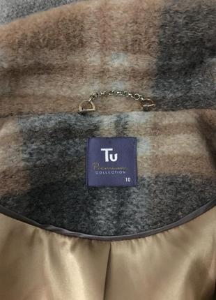Трендове стильне тепле пальто в клітинку з шерстю в складі tu4