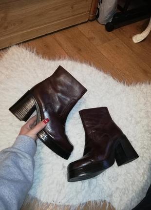 Ботинки женские ботинки на толстом каблуке кожаные ботинки зимние ботинки