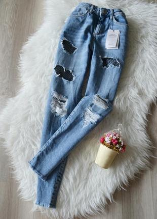 Новые мом-джинс с потертостями и вставками из сетки denim co2 фото